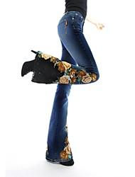 mj®: 2014 novo talão unha oriental bud luxo de seda bordado com contas micro calça jeans bootleg das mulheres queimado longas calças de brim