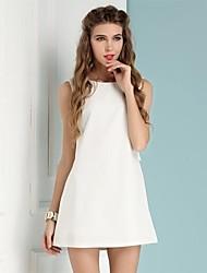 Frauen weißen netten beiläufigen Sommerstrick ärmellose Kleider