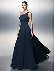 Prom/Formal Evening Dress - Dark Navy A-line One Shoulder Floor-length Tulle