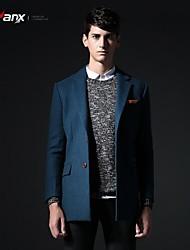 Genanx®Men'S Lapel Slim Wool Long Trench Coat F058