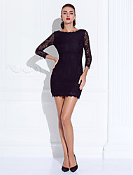 TS Couture® Prom / Formal Evening Dress - Black Plus Sizes / Petite Sheath/Column Jewel Short/Mini Lace