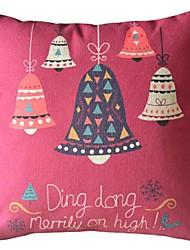 happy christmas bell cuscino rosso decorativo con inserto
