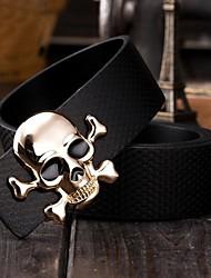 crânio populares suave curvatura lazer cinto de couro geniune dos homens