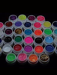 36PCS Mix Powder Pure Color Glitter Paillette Sequins UV Color Gel for Nail Art