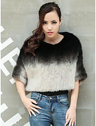 Fur Coats Women's Mink Woven Batwing Fur Coat(More Color)