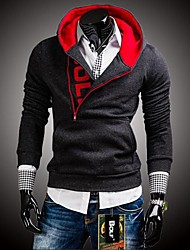 Men's Fashion Hooded The Sleeve Side Zipper Hit Color Sweatershirt