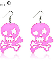 Lureme®Pink Skull Pattern Plastic Earrings