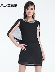 abito estivo di eral®women vestito chiffon tinta unita di un pezzo elegante o-collo