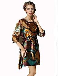 Women's Print / Casual Print Loose Dress , Round Neck Above Knee Satin