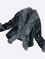 Women's Fashine Imitation Big Fox Fur Collars Imitation Sheepskin Coat