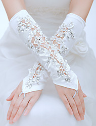 Elbow Length Fingerless Glove Silk Bridal Gloves