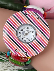 cor misturada marcação grande bracelete das mulheres de quartzo de madeira assistir pardas (1pc)