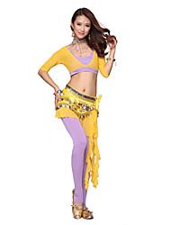Belly Dance Dancewear Women's Modal&Velvet Tassels Outfits Including Top, Skirt, Belt, Bottom