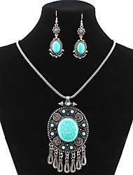 lureme® этнической отложения солей тибетский посеребренные овальную капли воды сплав ожерелье серьги костюм
