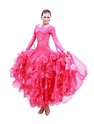 Ballroom Dance Dresses Women's Performance / Training Mercerized Cotton Sequins Fuchsia / Light Blue / Red / YellowModern Dance /