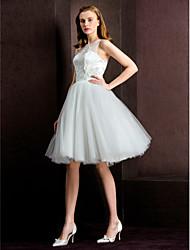 Ball Gown Wedding Dress - Ivory Tea-length Jewel Tulle