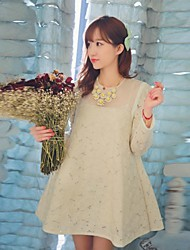 Maternity's Fashion All-Matching Lace Loose Long Sleeved Dress