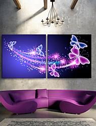 E-Home® gestreckt geführt Leinwanddruck Kunstschmetterlingsblitzeffekt führte Satz 2