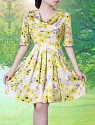 Women's Yellow Dress , Party ½ Length Sleeve
