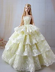 Barbie Doll Light Yellow Princess Wedding Dresss