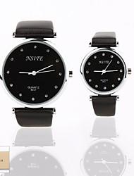 Personalized Gift New Style Couple's Black Case PU  LeatherBand Quartz Analog Wrist Engraved Watch