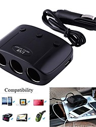 1-to-3 Car  Lighter Socket Splitter Adapter w/ Dual-USB Output (12~24V)
