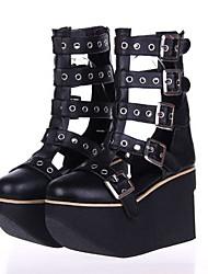 negro plataforma 9.5cm cuero de la PU zapatos lolita gótica