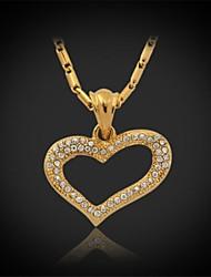 u7® Горячая продажа прелести сердца 18k реальное позолоченные горный хрусталь кристалл кулон ожерелье