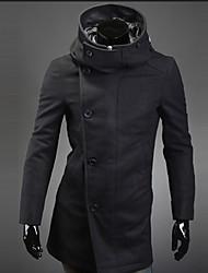 HUIZI Men's Fashion Korea Style Slim Hoodie Tweed Coat