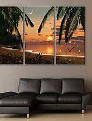 E-Home® Strand Sonnenuntergang Landschaft Uhr im Segeltuch 3pcs