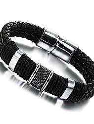 Super Man Leather Hand Weaving Double Titanium Steel Men's Bracelet