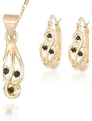 Z&X® Vintage 18K Gold Plated Black Rhinestone Pendant Necklace Earrings Jewelry Set (1 set)
