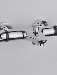 Contemporary Wall Mounted Thermostatic with  Ceramic Valve Two Handles Two Holes for  Chrome , Bathtub Faucet