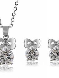 boucles d'oreilles bowknot collier de SNA femmes Set 3Pcs ensemble