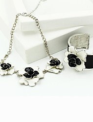 Women's Flowers Jewellery Set Black-White Multilayer Alloy With Necklace Bracelet Sets