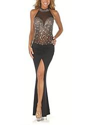 Women's Fashion Sexy Nightclub Halter Sleeveless Prom Maxi Dress(with diamonds)