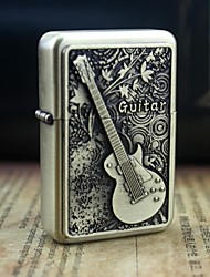 Earth Gold Guitar Pattern Metal Relief Oil Lighter  Style Random