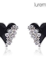 Brincos Curtos Amor Coração Cristal imitação de diamante Liga Formato de Coração Branco Preto Jóias Para Diário