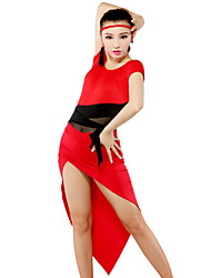 Latin Dancewear Women's Qmilch Tulle Latin Dance Outfits Including Tops And Skirts(More Colors)