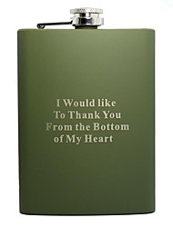 Personalized Gift Green 8oz Stainless Steel Hip Flask