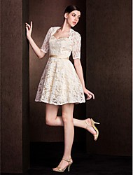 Short/Mini Lace Bridesmaid Dress A-line Sweetheart
