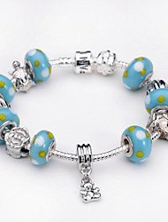 Women's Charm Bracelet Strand Bracelet Silver Plated Glass Silver Jewelry For Party Daily Casual