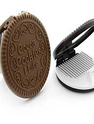 mini draagbare schattige cookie-vorm cosmetische make-up spiegel met kam willekeurige kleur