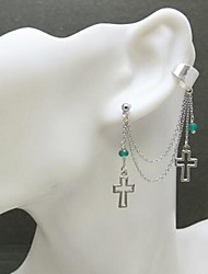Fashion Hollow Cross Rhinestone Silver Alloy Clip Earrings(1Pc)