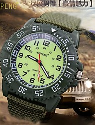 Men's Super Luminous Face Canvas Nylon Strap Quartz Sport Military Wrist Watch (Assorted Colors) Cool Watch Unique Watch