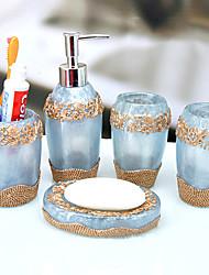 banho conjunto de acessórios, estilo mediterrâneo porta-escovas de resina caneca continental ajuste 5 peça