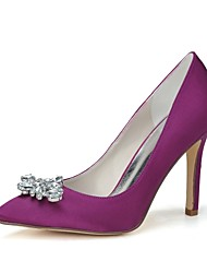 Women's Spring Summer Fall Winter Satin Wedding Party & Evening Stiletto Heel Black Blue Pink Purple Red Ivory Silver Champagne