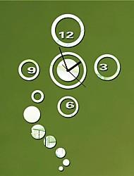 """21 """"h rond et cercles de style moderne 3d bricolage miroir acrylique horloge murale"""