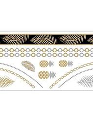 Tatuajes Adhesivos - Modelo - Series de Joya - Mujer/Girl/Adulto/Juventud - Dorado - Papel - #(1) - #(20x10)
