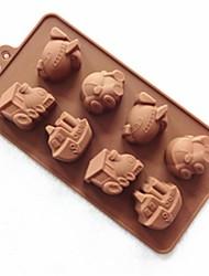 8 trous moules de chocolat de gelée de glace gâteau de la forme du véhicule de moule, silicone 23 x 12 x 2,5 cm (9 x 4,7 x 1 pouce)